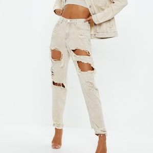 Missguided riot tan jeans brand new
